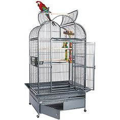 This Ara 2 - Top Opening Parrot Cage with Removable Playstand is perfect for and Large Check it out now. With wood perches, feeding bowls, grille and more. Parrot Cages For Sale, Bird Cages, Cockatoo, Animals And Pets, Bowls, Wood, Parrots, Check, Scarlet