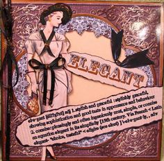 Elegant Lady Definition 8inch Picture Sheet on Craftsuprint designed by Ann-marie Vaux - made by Darlene Handorff - Here is a nice print that I gave a little bit of foo foo jewelry and sparkle just for fun. I printed out the elegant lady and cut out the mid portion that was like a brown cordaroy. I used a light pink glitter card stock to replace the cut out portions and taped it to the back of the print so it showed through. I also gave the model a black ribbon belt and necklace. I put…