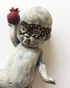 Pomegranate Thief by Flora Art Studio Pomegranate, Flora, Lion Sculpture, Owl, Statue, Bird, Studio, Artwork, Animals