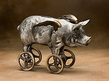 "Flying Pig Coin Bank by Scott Nelles (Metal Bank) (6.5"" x 10"")"