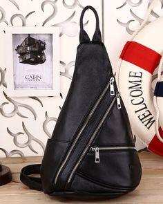 Men's Black Real Leather Crossbody Backpack Sling Shoulder Bag Casual Sports Use #TIDING #slingbagshoulderbag