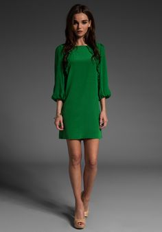 TIBI Ruffle Dress in Emerald - I'm all over this color now