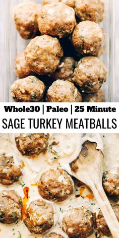 Unbelievably easy oven baked Paleo turkey meatballs and sage cream sauce. Unbelievably easy oven baked Paleo turkey meatballs and sage cream sauce. Paleo Turkey Meatballs, Sausage Meatballs, Turkey Sausage, Whole 30 Meatballs, Turkey Meals, Venison Sausage Recipes, Meatball Recipes, Whole Food Recipes, Cooking Recipes
