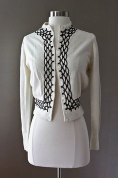Ivory Vintage Cardigan Sweater  Black Scallop by SalvatoCollection, $48.00