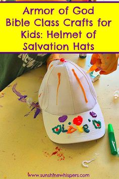 Armor of God Bible Class Crafts for Kids: Helmet of Salvation Hats - Sunshine Whispers  http://www.sunshinewhispers.com/2015/08/armor-of-god-bible-class-crafts-for-kids-helmet-of-salvation-hats/