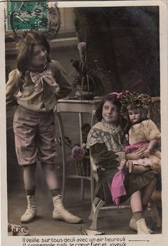Vintage French little girl postcard . Romantic postcard.Children.Victorian little girl with a doll.
