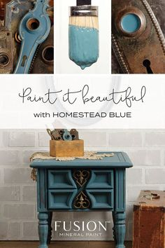 Homestead Blue by Fusion Mineral Paint. This historical blue from our Canadiana Collection has stood the test of time for over 20 years when we first came out with it. Grey and muted teal undertones goes well with deep yellows, reds and all neutrals. Painted Furniture For Sale, Blue Furniture, Paint Furniture, Furniture Makeover, Furniture Ideas, Paint Brands, Mineral Paint, Cool Paintings, Painting Cabinets
