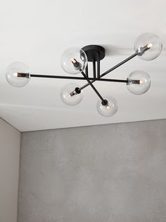 The Beacon Lighting Aksel 6 light close to ceiling pendant in black with clear g… - Deckenbeleuchtung Low Ceiling Lighting, Lounge Lighting, Beacon Lighting, Dining Room Lighting, Interior Lighting, Home Lighting, Lounge Ceiling Lights, Hallway Ceiling Lights, Modern Bedroom Lighting
