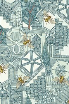 Hexagon City by scrummy - Hand drawn geometric city illustration with yellow honey bees on fabric, wallpaper, and gift wrap. Intricate illustration with a bee hive theme.
