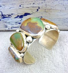 REDUCED!!  Large and In Charge! 125 gram Vintage Navajo Sterling Silver Cuff w 5 HUGE King's Manassa Gem Grade Turquoise Stones! Signed!