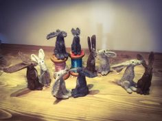 How gorgeous are all these different Hares, made by our students during one of our needle felting workshops. We always find it fascinating how each animal seems to take on their own personality Tea Cakes, Dressmaking, Needle Felting, Personality, Workshop, Students, Jewelry Making, Paper Crafts, Sculpture