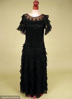 Augusta Auctions, October 2007 Vintage Clothing & Textile Auction, Lot 724: Jeanne Lanvin Lace Evening Gown, 1930s