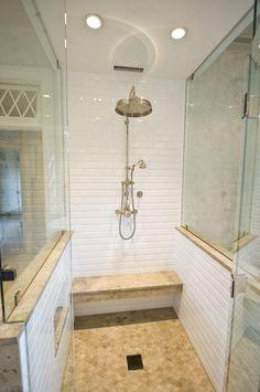 White bathroom tile option. Good white and beige combo.