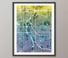 Denver Map, Denver Colorado City Street Map, Art Print (1929)