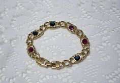 **SOLD** 80's Chunky Chain Multi Color Costume Jewelry Bracelet by JenuineCollection on Etsy