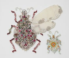 """Louise Saxton """"Travel Bugs"""" 2009 reclaimed machine and hand embroidery stitched to silk . Copyright L. Saxton. Photography by Gavin Hansford..."""