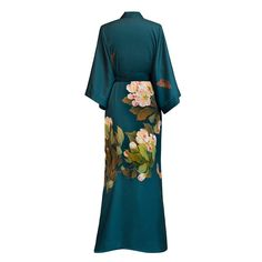 Kimono Long Robe - Peony and Butterfly (vintage teal)