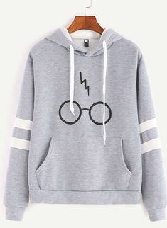 Minetom Women& Autumnn Fashion Long Sleeve Pullover Harry Potter Glasses Prints Hoodies Hooded Sweatshirt Sweater Tops Gray US 14 Mode Harry Potter, Harry Potter Glasses, Harry Potter Outfits, Harry Potter Clothing, Harry Potter Fashion, Harry Potter Accessories, Harry Potter Jewelry, Harry Potter Style, Harry Potter Gifts