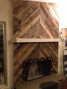 Pallet Wall Fireplace For The Home Pinterest Wall