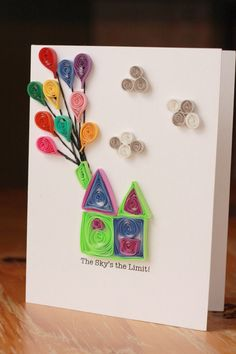 Up Hot Air Balloon Quilled Greeting Card - Unique Greeting Card - Encouragement