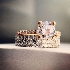 Looking for a non-traditional wedding band? Try a thicker band that complements your engagement ring.