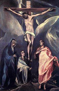 Cristo en la cruz entre las dos Marías y san Juan. 1588. El Greco. Oleo/lienzo 120x80cm. National Gallery, Atenas.