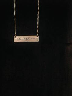 Gentleman // Brass Word Pendant Necklace