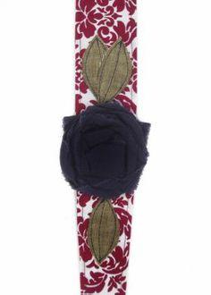 Vintage Rose Wraps Headband: Red Damask Navy