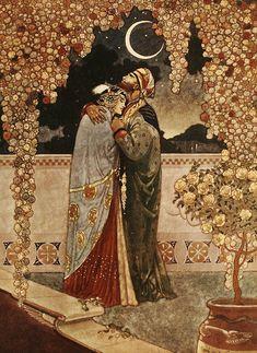 Scène romantique rapportée du palais du prince de Perse.  https://turandoscope.wordpress.com/2016/09/03/16-la-caravane-du-prince-de-perse/