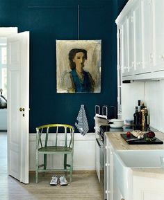 Put it on ceiling of our living room and kitchen Wall color. Hague blue by farrow and ball- love this colour Dark Blue Walls, Navy Walls, Dark Teal, Deep Blue, Navy Blue, Indigo Walls, Black Walls, Indigo Blue, Royal Blue