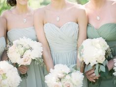 Bridesmaids in mint and jade with soft white bouquets   Utterly Romantic Berry and Greyed Jade Wedding Inspiration