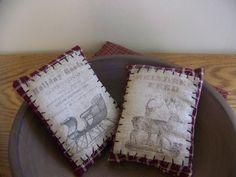 Set Of 2 Primitive Christmas Pantry Label Pillow Tucks by MondaysChildPrims on Etsy https://www.etsy.com/listing/209556089/set-of-2-primitive-christmas-pantry