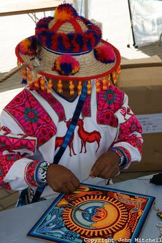 Huichol yarn art. These Mexican people take peyote in cultural ceremonies and the art they create comes from visions.