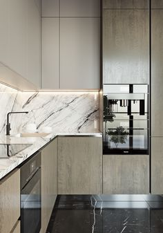 Beautiful Modern Kitchen with marble kitchen top and backsplash