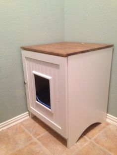 Cat Litter Box Hider. Euro Box Out Of White Melamine. Put In The Laundry