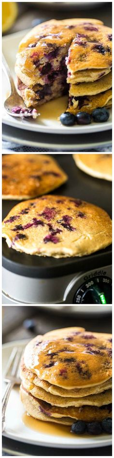 Lemon Blueberry Quinoa Pancakes - Light, fluffy, gluten free and made with Greek Yogurt so they're protein packed!