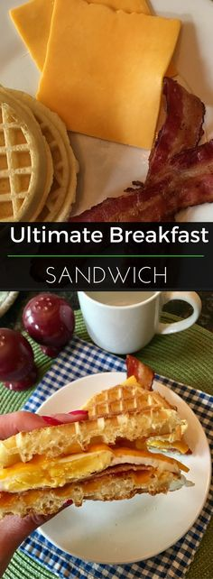 "Organic frozen waffles as the ""bread"" sandwich eggs, cheese and bacon for this diner-style breakfast sandwich that's sure to keep you full and happy until lunch! 