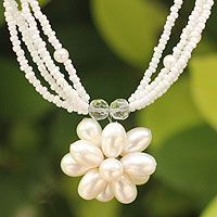'Paradise Flower' pearl flower necklace designed by Thailand's Anusara