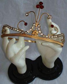 Antique Tiara, France (late 1800's; paste gemstones, gilt).