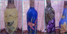 Descubrimos esta técnica para decorar la superficie de una botella de cristal a partir de servilletas.