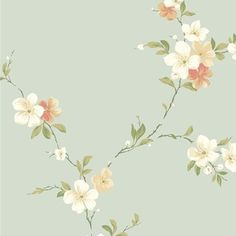 Casabella Blossom Trail Wallpaper - This cherry blossom pattern gently trails across walls for a soft, botanical look. Find it at American Blinds and Wallpaper in the Casabella Collection from York Wallcoverings.