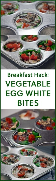 Veggie loaded egg white bites -- the fastest and easiest way to get ready for a fast-paced morning. #breakfast #bite #eggwhite #veggie #healthy #bake #fast #easy #minute #makeahead