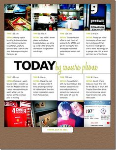 """a """"week in the life"""" layout- easy to copy with paper and glue.  No muss, no fuss, and plenty of details"""