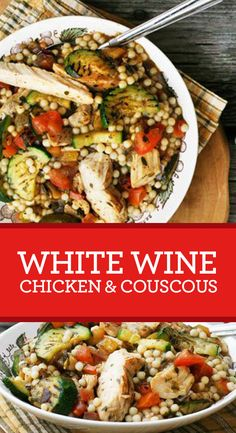 Grilled chicken, roasted veggies and rich couscous in a savory white wine sauce. Just pull it out of the microwave for the easiest DIY meal of all—a SmartMade dinner! Chicken Couscous, Clean Eating, Healthy Eating, Cooking Recipes, Healthy Recipes, Healthy Snacks, Wine Sauce, Mezze, Pasta