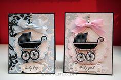 cute baby boy-baby girl cards using TC Baby Boutique cricut cartridge.