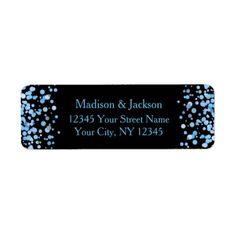 #monogram - #Blue Watercolor Confetti Wedding Return Address Label