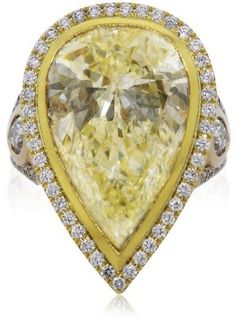 18K Rose & Yellow Gold 14.33ct Fancy Light Yellow Pear Shaped Diamond…