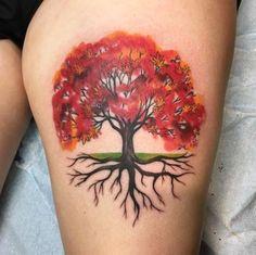 Ideas Maple Tree Tattoo Life For 2019 Tree Sleeve Tattoo, Oak Tree Tattoo, Tree Tattoo Back, Trendy Tattoos, New Tattoos, Cool Tattoos, Tattoos For Guys, Tattoo Life, Roots Tattoo
