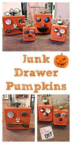 Kid's craft alert:  Make your own pumpkins out of recycled materials.  It's like Mr. Potato Head for pumpkins.