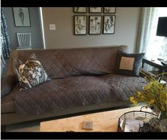 """The """"before"""" pic by Freddie Gordon Jr Furniture Covers, Sofa Covers, Sofa Furniture, Sofa Throw, Fabric Sofa, Jr, Sofas, Upholstery, One Piece"""